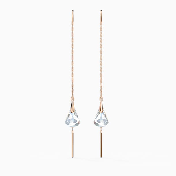 Spirit Pierced Earrings, White, Rose-gold tone plated - Swarovski, 5527396