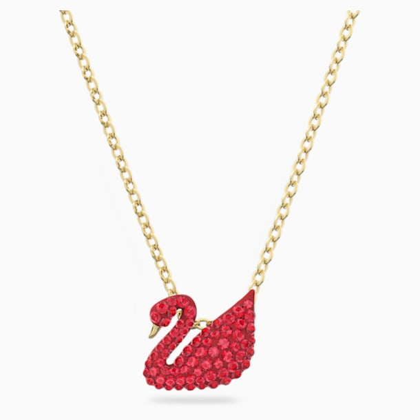 Iconic Swan Pendant, Small, Red, Gold-tone plated - Swarovski, 5527407