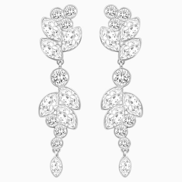 Diapason Pierced Earrings, White, Rhodium plated - Swarovski, 5528452