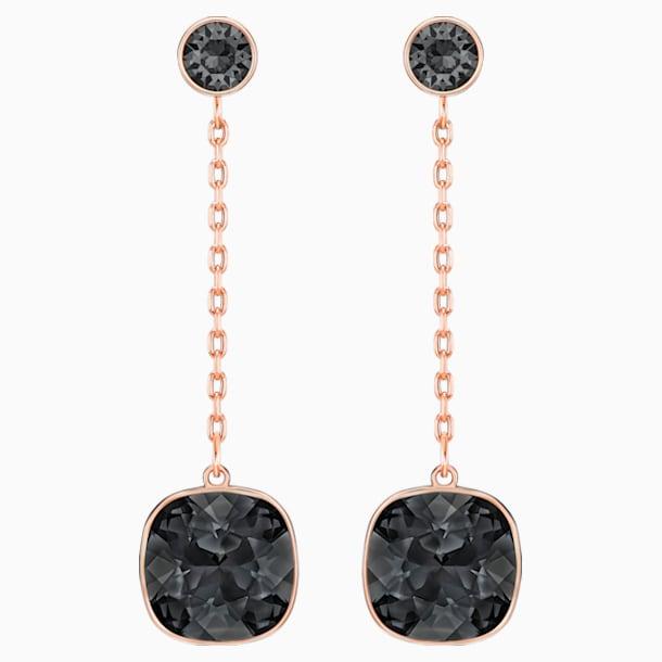 Boucles d'oreilles chaîne Lattitude, noir, Métal doré rose - Swarovski, 5528512
