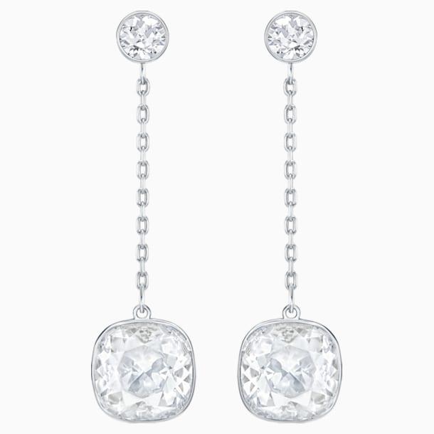 Lattitude Chain Pierced Earrings, White, Rhodium plated - Swarovski, 5528513