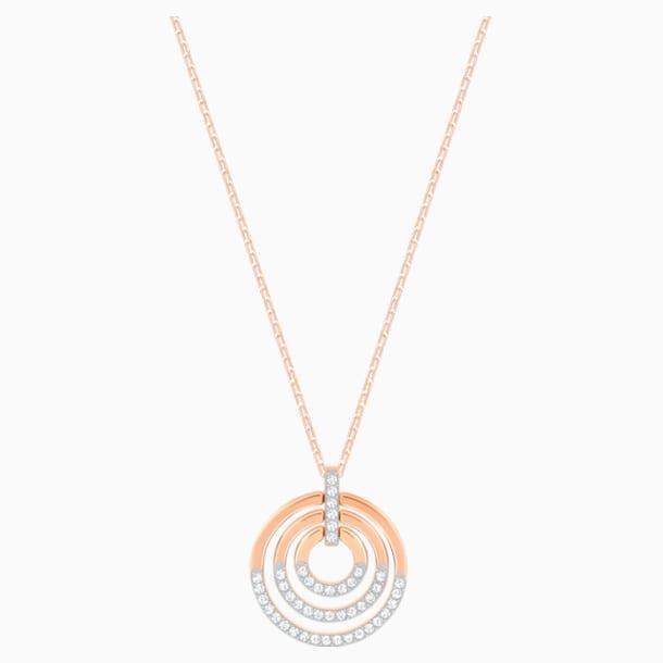 Circle Pendant, White, Rose-gold tone plated - Swarovski, 5528565