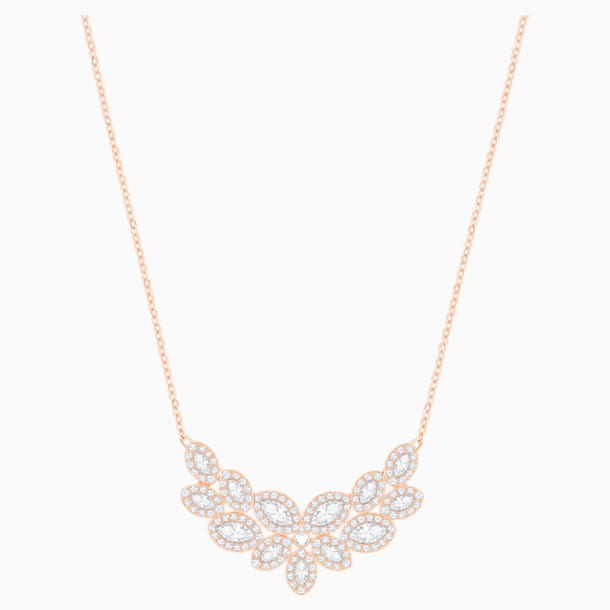 Baron Necklace, White, Rose-gold tone plated - Swarovski, 5528751