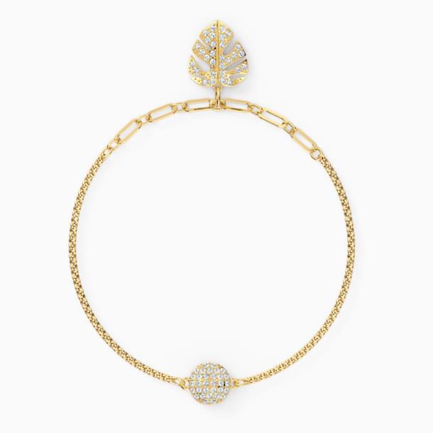 Swarovski Remix kollekció Tropical Leaf lánc, fehér, arany árnyalatú bevonattal - Swarovski, 5528850