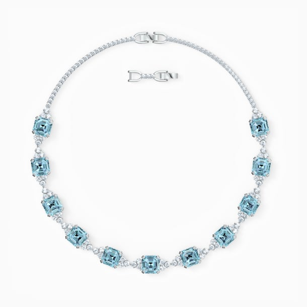 Sparkling Necklace, Aqua, Rhodium plated - Swarovski, 5528875