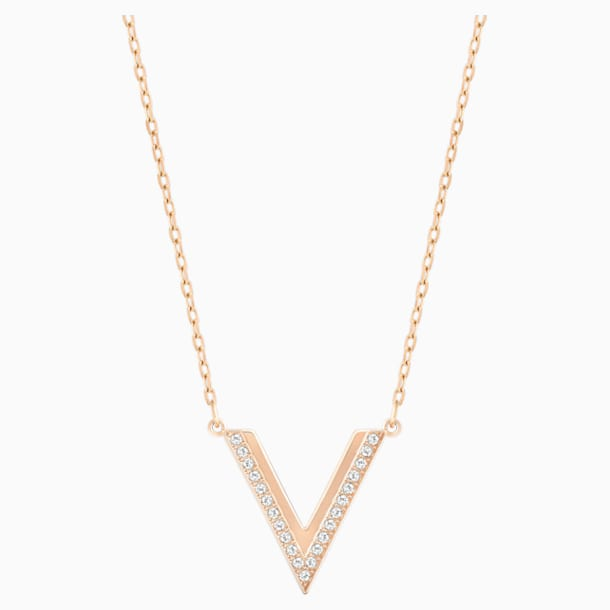 Delta Necklace, White, Rose-gold tone plated - Swarovski, 5528910