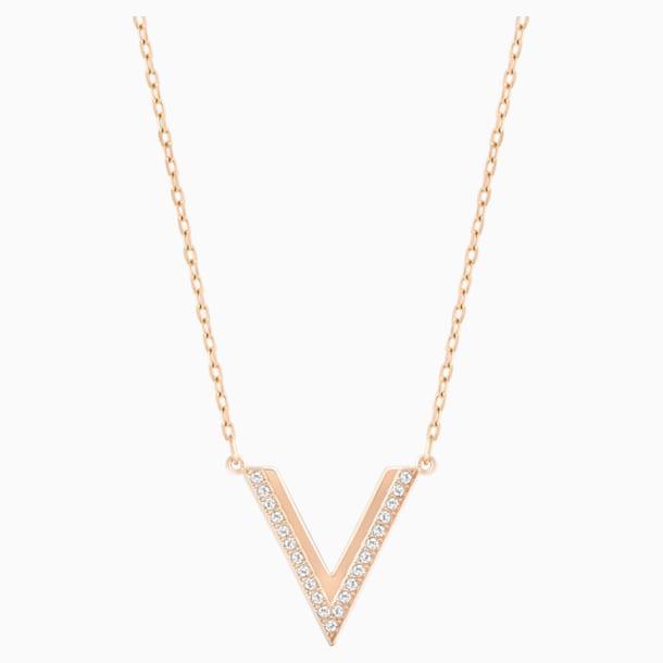 Delta 項鏈, 白色, 鍍玫瑰金色調 - Swarovski, 5528910