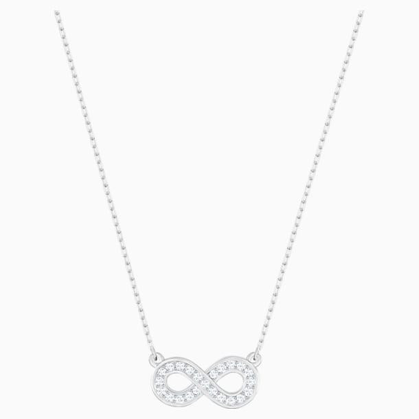 Infinity Necklace, White, Rhodium plated - Swarovski, 5528911