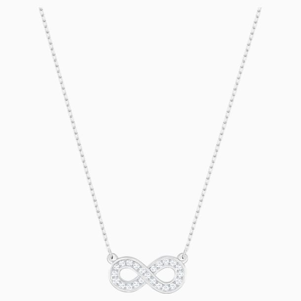 Infinity Necklace, White, Rhodium plated - Swarovski, 5528911