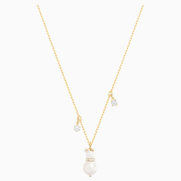 Little Snowman Pendant, White, Gold-tone plated - Swarovski, 5528916