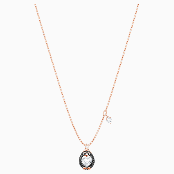 Little Penguin Pendant, Multi-colored, Rose-gold tone plated - Swarovski, 5528917