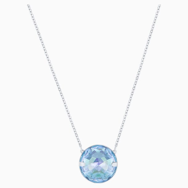 Globe Necklace, Blue, Rhodium plated - Swarovski, 5528921