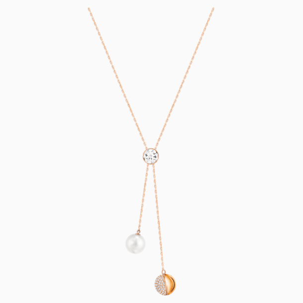 Forward Y Necklace, White, Rose-gold tone plated - Swarovski, 5528924