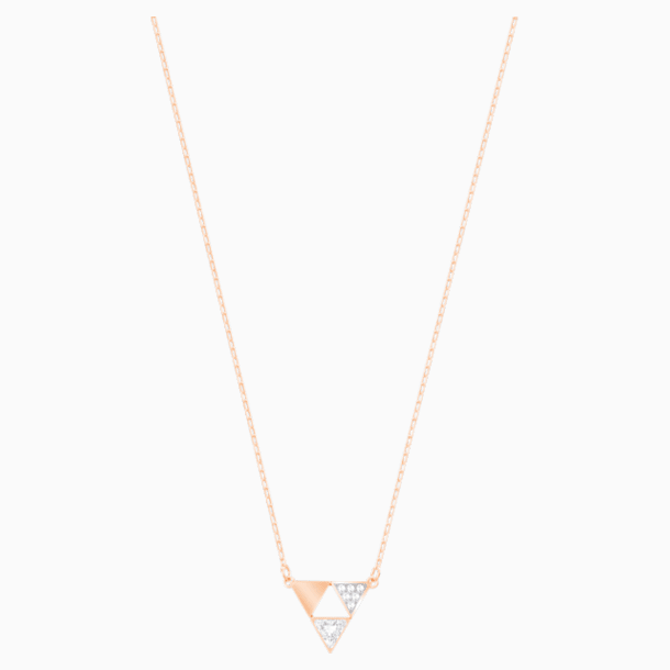 Heroism Necklace, White, Rose-gold tone plated - Swarovski, 5528935