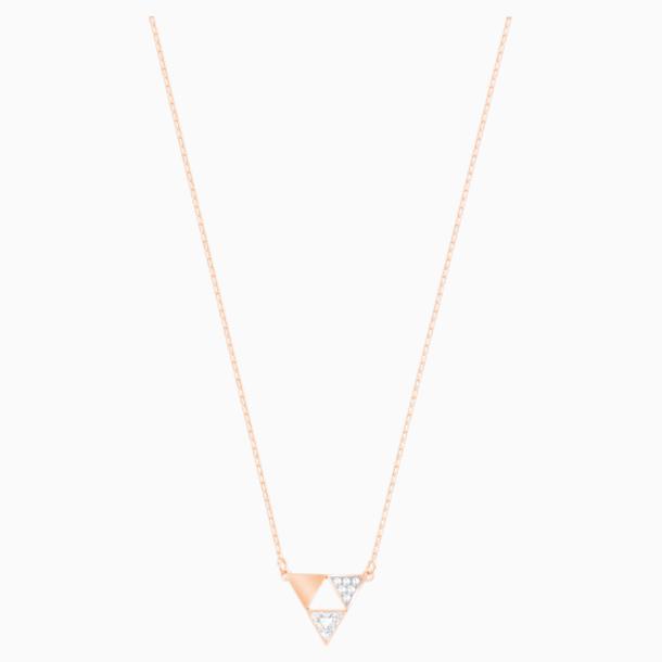 Heroism Necklace, White, Rose-gold tone plated - Swarovski, 5528935