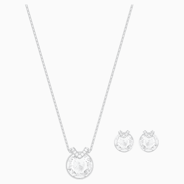 Bella V Set, White, Rhodium plated - Swarovski, 5528937