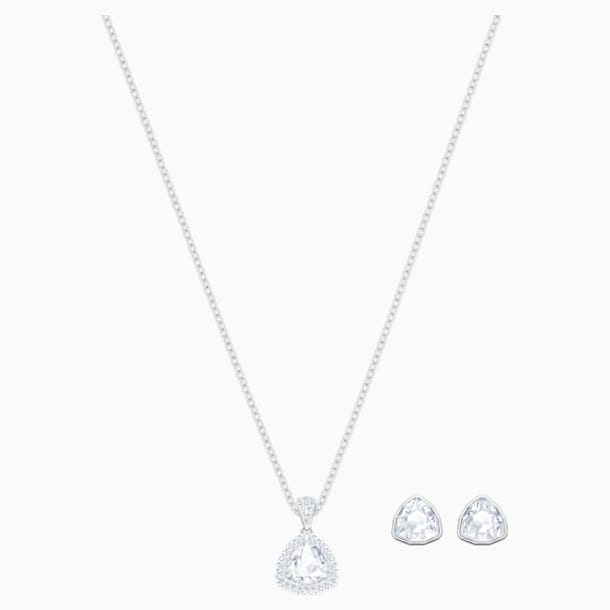 Begin Set, White, Rhodium plated - Swarovski, 5528938