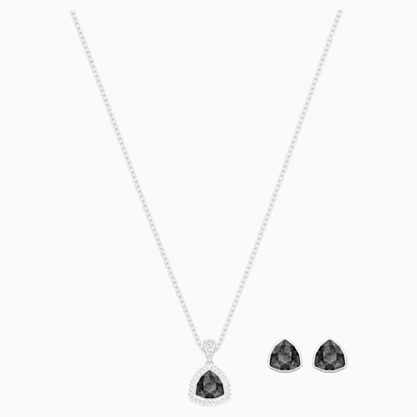 Begin Set, Black, Rhodium plated - Swarovski, 5528939