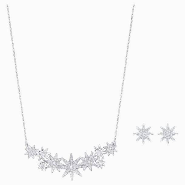 Fizzy Set, White, Rhodium plated - Swarovski, 5528944
