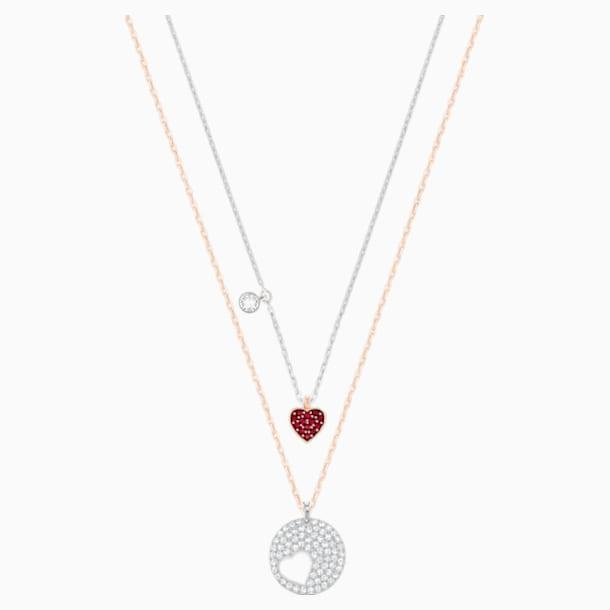 Crystal Wishes Heart 鏈墜, 紅色, 多種金屬潤飾 - Swarovski, 5529569