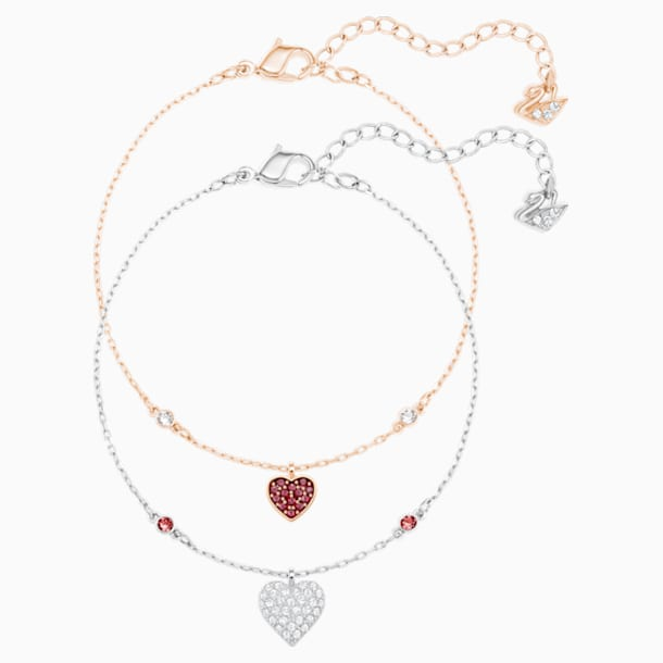 Crystal Wishes Heart Set, Red, Mixed metal finish - Swarovski, 5529600