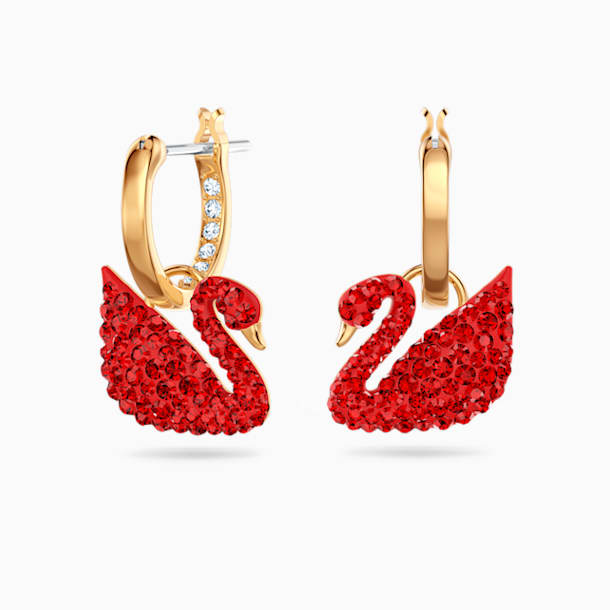 Iconic Swan Pierced Earrings, Red, Gold-tone plated - Swarovski, 5529969