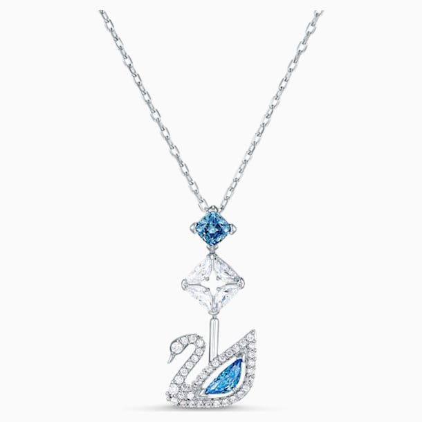 Dazzling Swan Necklace, Blue, Rhodium plated - Swarovski, 5530625