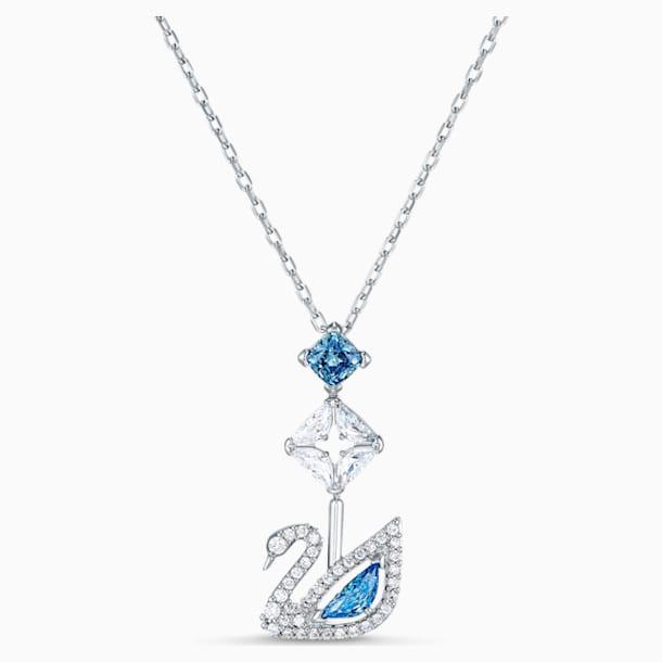Dazzling Swan Necklace, Blue, Rhodium plated - Swarovski, 5530625