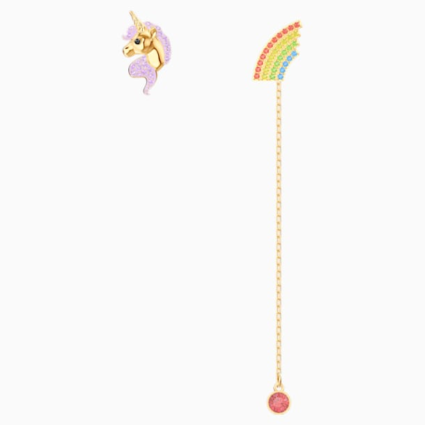 Out of this World Unicorn Earrings, Multi-coloured, Gold-tone plated - Swarovski, 5531528