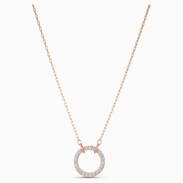 Only Necklace, White, Rose-gold tone plated - Swarovski, 5531529