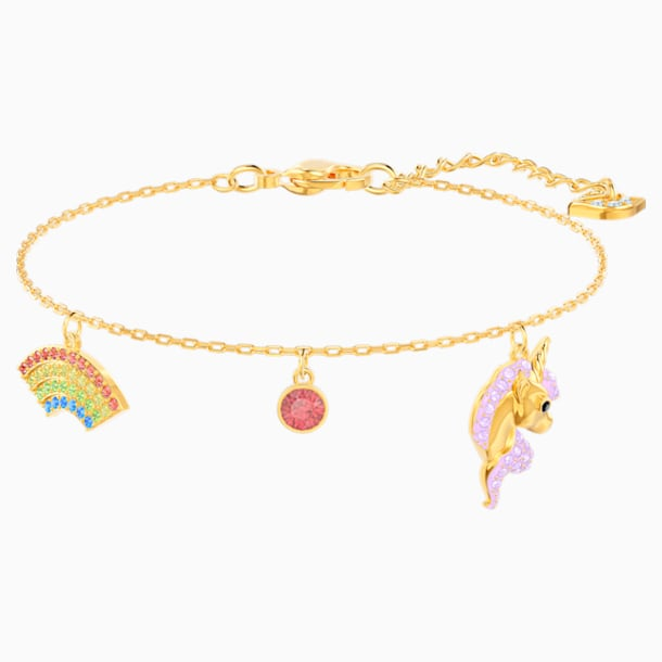 Out of this World Unicorn Bracelet, Multi-colored, Gold-tone plated - Swarovski, 5531531