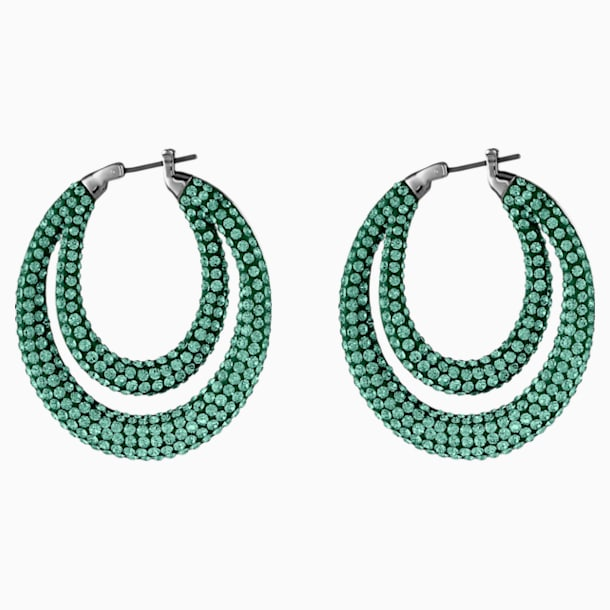 Tigris Hoop Pierced Earrings, Green, Ruthenium plated - Swarovski, 5532734