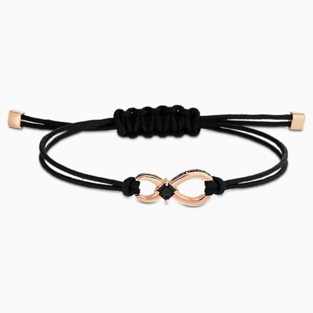 Braccialetto Swarovski Infinity, nero, placcato color oro rosa - Swarovski, 5533721