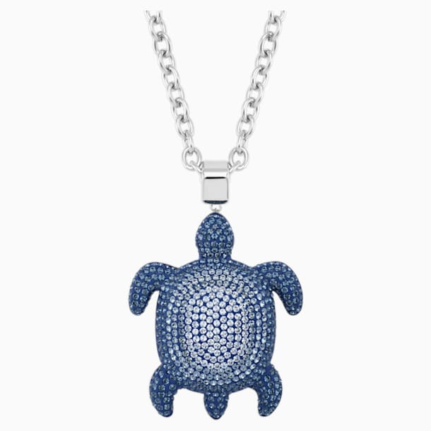 Mustique Sea Life Turtle Pendant, Large, Blue, Palladium plated - Swarovski, 5533737