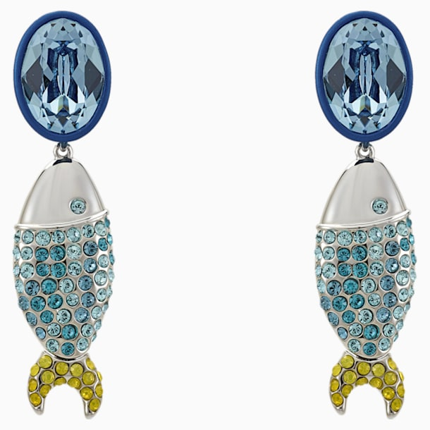 Mustique Sea Life Fish Pierced Earrings, Blue, Palladium plated - Swarovski, 5533738