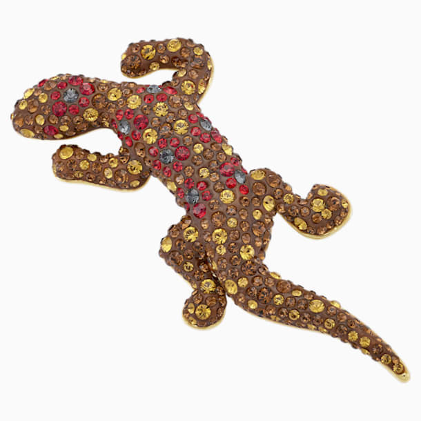 Mustique Sea Life Geko 胸針, 咖啡色, 鍍金色色調 - Swarovski, 5533739