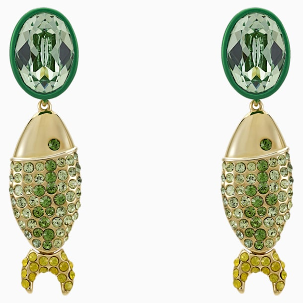 Mustique Sea Life Fish Pierced Earrings, Green, Gold-tone plated - Swarovski, 5533747