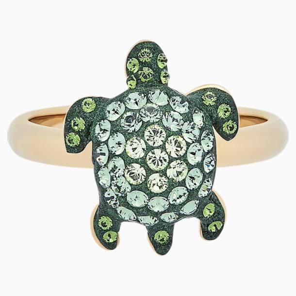 Anillo Mustique Sea Life Turtle, pequeño, verde, baño tono oro - Swarovski, 5533750