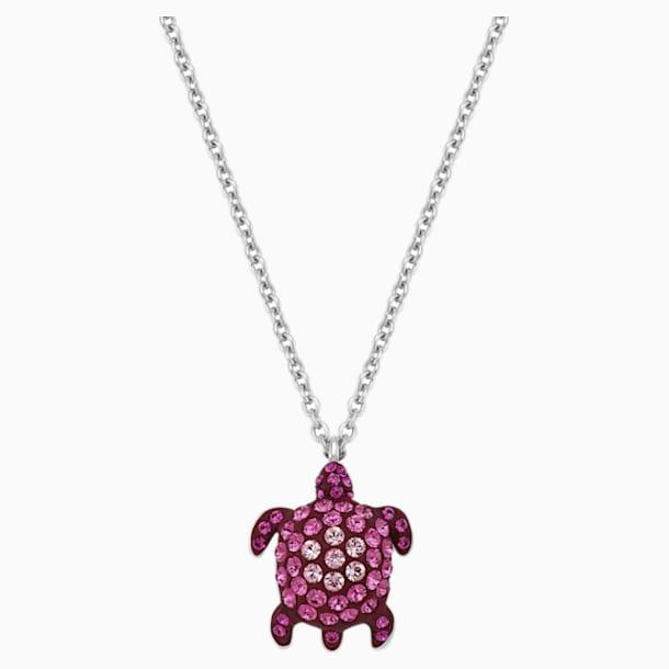 Pendentif Mustique Sea Life Turtle, petit, rose, métal plaqué palladium - Swarovski, 5533751