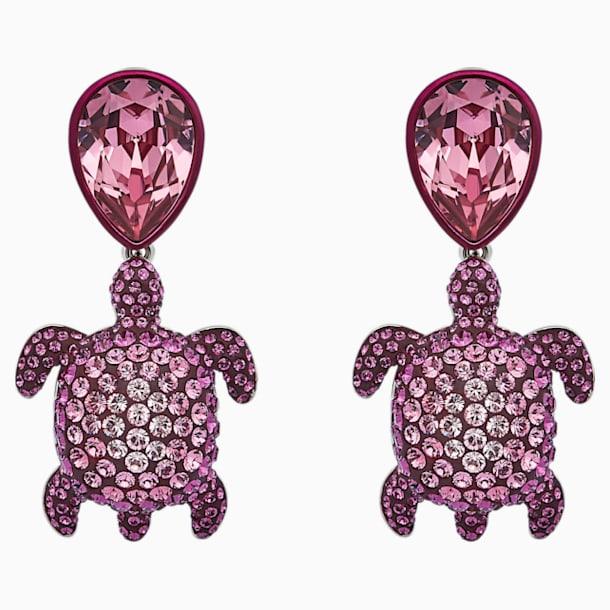 Pendientes Mustique Sea Life Turtle, rosa, baño de paladio - Swarovski, 5533755