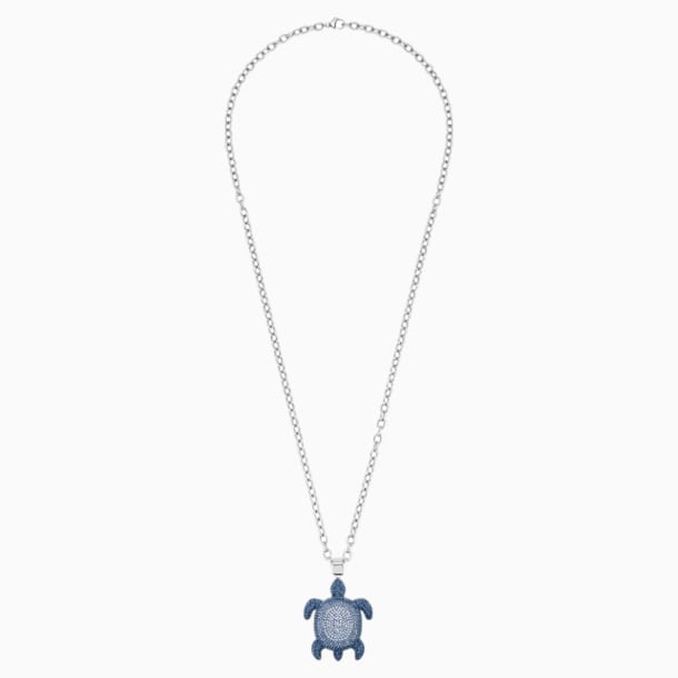 Mustique Sea Life Turtle Pendant, Small, Blue, Palladium plated - Swarovski, 5533756