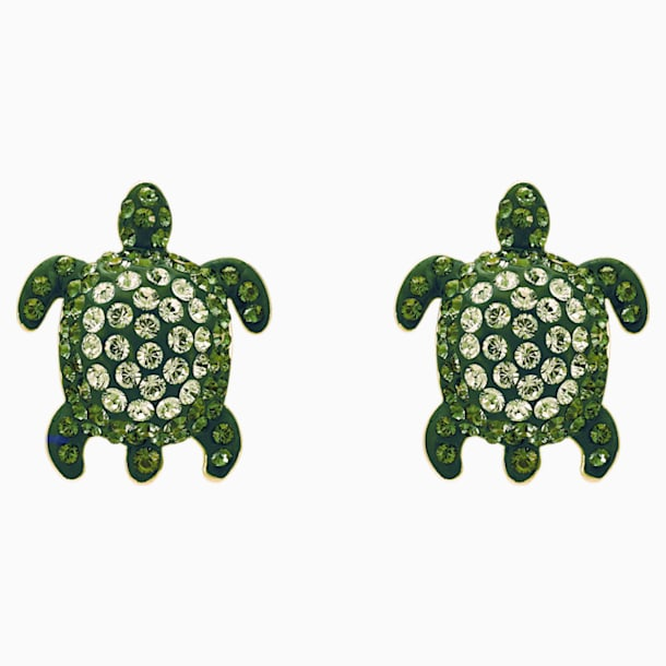 Orecchini Mustique Sea Life Turtle, verde, placcato color oro - Swarovski, 5533757