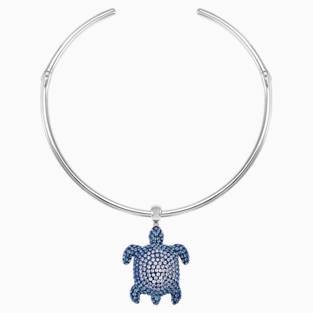 Mustique Sea Life Turtle Torque Necklace, Blue, Palladium plated - Swarovski, 5533759