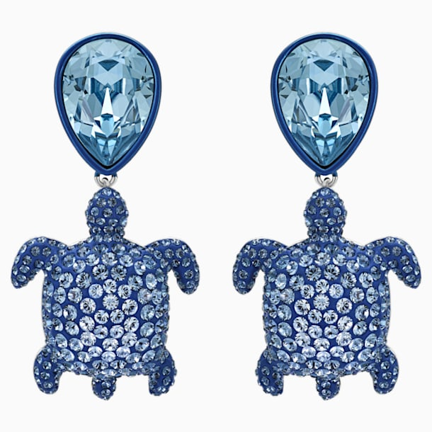 Mustique Sea Life Turtle Pierced Earrings, Blue, Palladium plated - Swarovski, 5533760