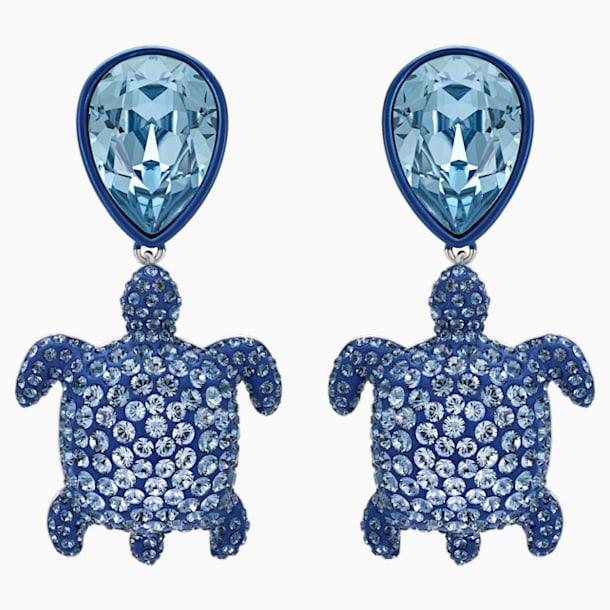 Cercei cu șurub țestoasă Mustique Sea Life, albastru, placați cu paladiu - Swarovski, 5533760