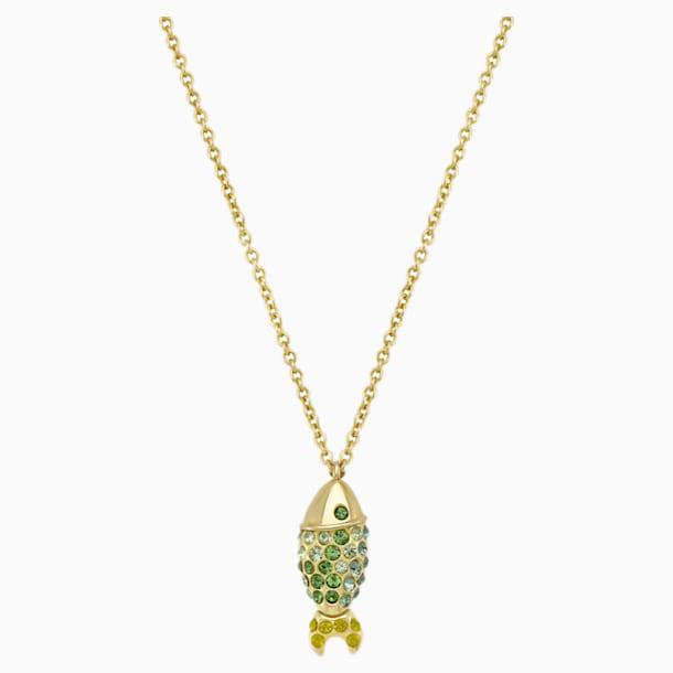 Mustique Sea Life Fish Pendant, Green, Gold-tone plated - Swarovski, 5533761