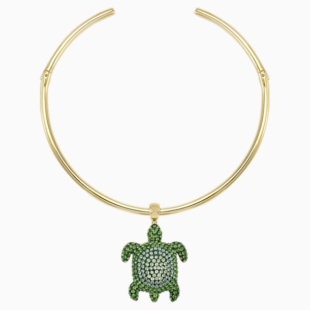 Mustique Sea Life Turtle Torque Necklace, Green, Gold-tone plated - Swarovski, 5533764