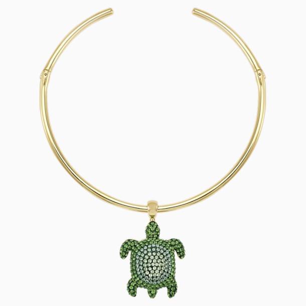 Mustique Sea Life Turtle Torque Necklace, Green, Gold-tone plated - Swarovski, 5533764