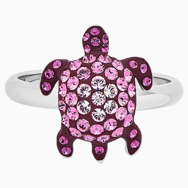 Mustique Sea Life Turtle gyűrű, kicsi, rózsaszín, palládium bevonattal - Swarovski, 5533765