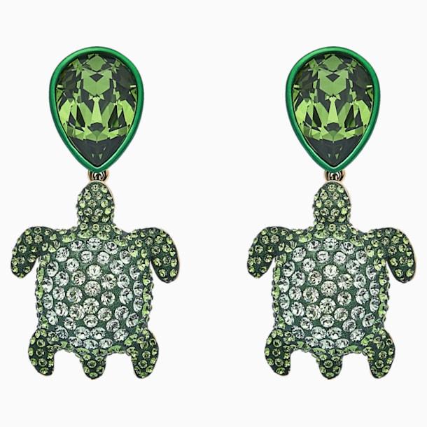 Mustique Sea Life Turtle 穿孔耳环, 绿色, 镀金色调 - Swarovski, 5533766